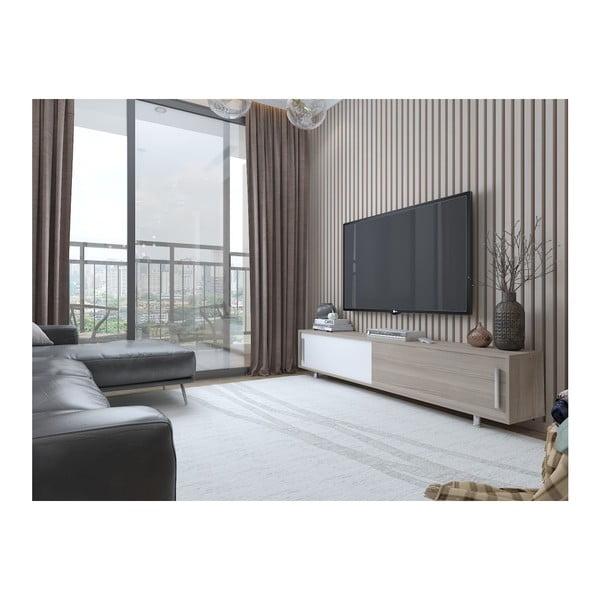 TV stolek v dekoru ořechového dřeva s bílými detaily Nehi Cordoba White