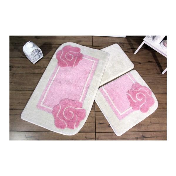 Sada tří koupelnových předložek s motivem květu v růžovo-bíé barvě Knit Knot