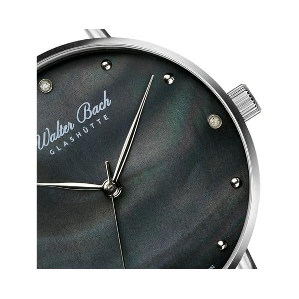 Dámské hodinky s černým páskem z nerezové oceli a 4 diamanty Walter Bach Perfect