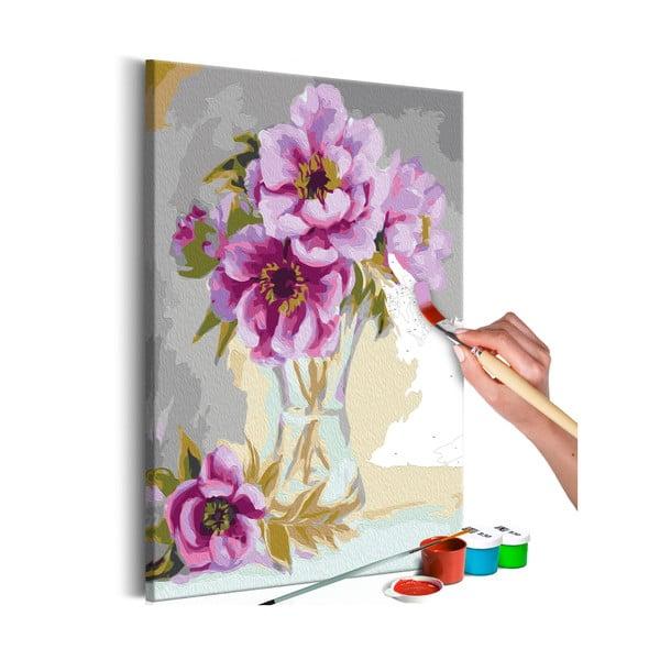 DIY set na tvorbu vlastného obrazu na plátne Artgeist Vase Flowers, 40 × 60 cm