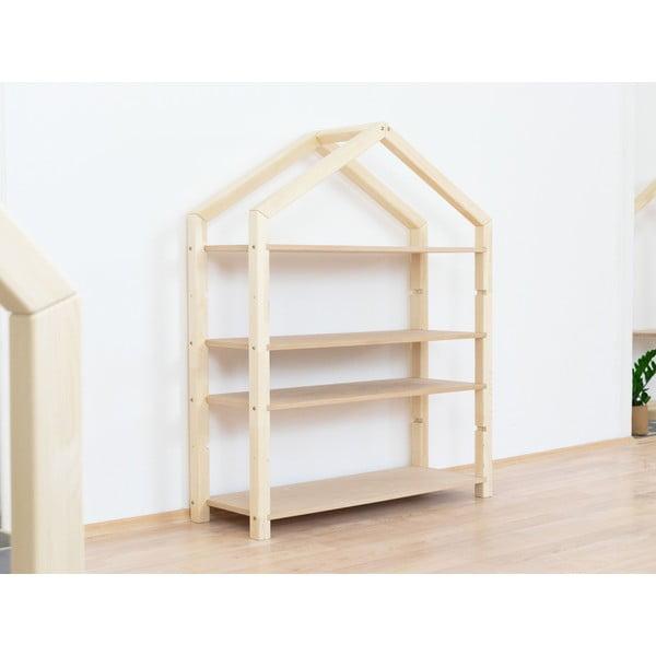 Naturalny drewniany regał w kształcie domku z beżowymi półkami Benlemi Polly, 111x137 cm