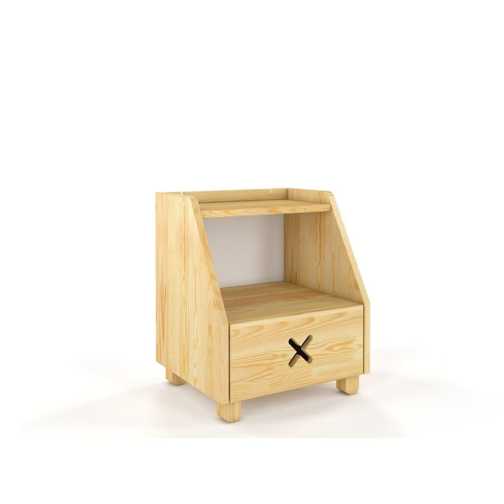 Noční stolek z borovicového dřeva se zásuvkou a policí Skandica Visby Ustka