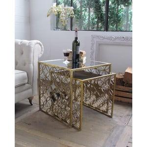 Sada 2 kávových stolků Gold Vintage