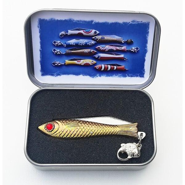 Vánoční český nožík rybička s červeným okem, v plechové krabičce