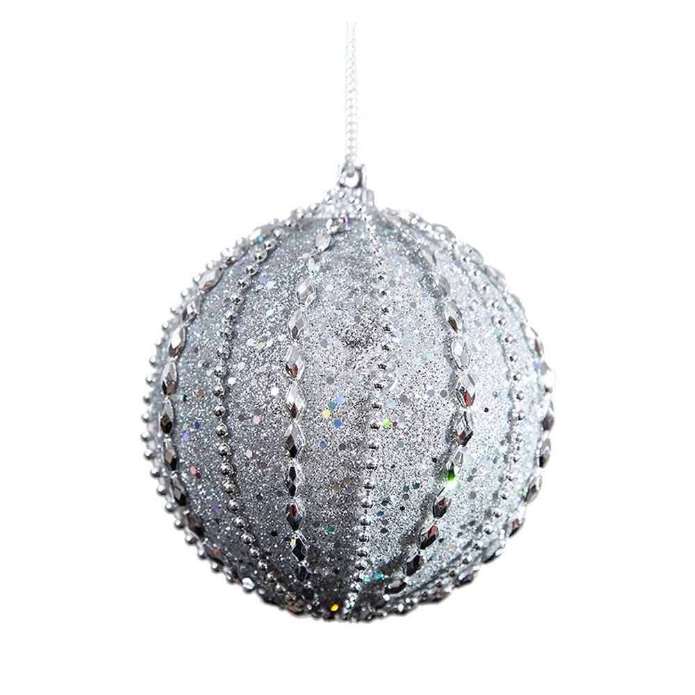 Sada 6 plastových vánočních ozdob ve stříbrné barvě DecoKing Tania