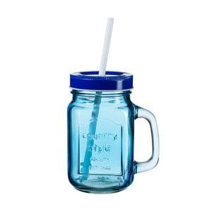 Modrá sklenice s víčkem a brčkem SUMMER FUN II, 450ml