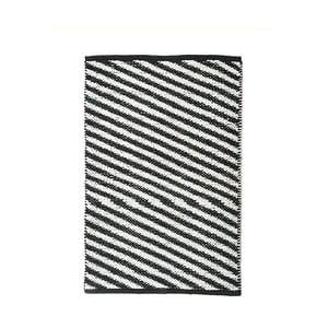 Černobílý bavlněný ručně tkaný koberec Diagonal, 60x90 cm
