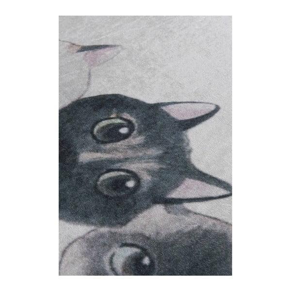 Covor baie Lismo Cats, 60 x 40 cm, alb - gri