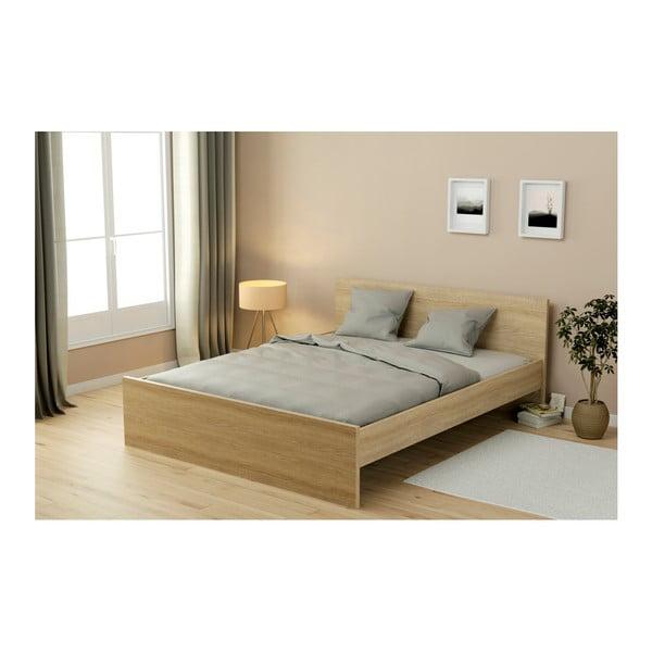 Dvoulůžková postel v dekoru dubového dřeva Parisot Adrienne, 160x200cm