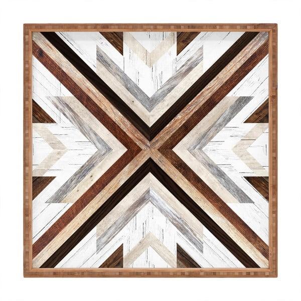 Drewniana taca dekoracyjna Intarzia, 40x40 cm