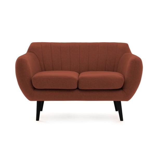 Canapea 2 locuri cu picioare negre Vivonia Kennet, maro