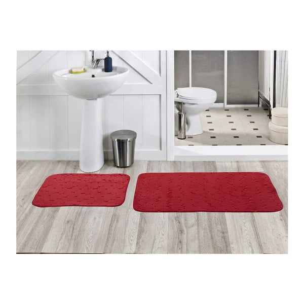 Sada 2 koupelnových koberečků Milas Kirmizi, 50x60 cm + 60x100 cm