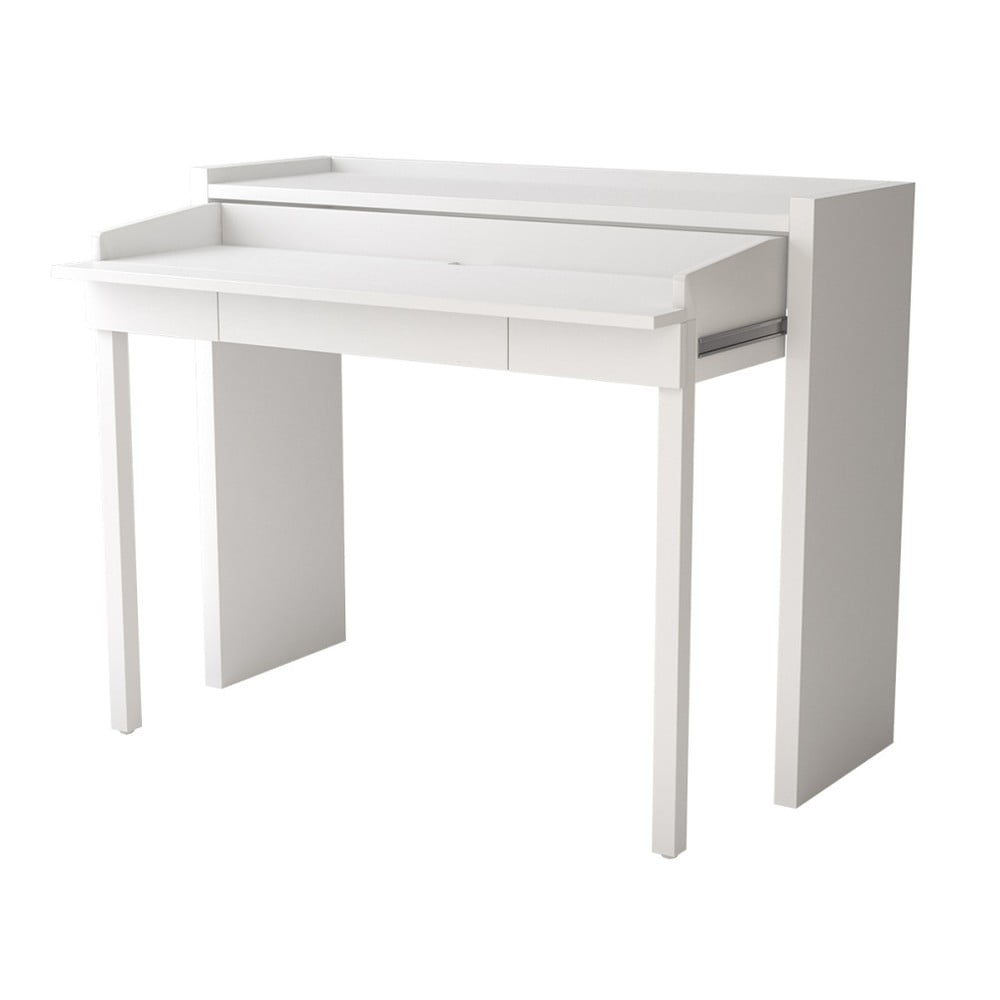 Bílý vysouvací psací stůl Woodman 16 Mel