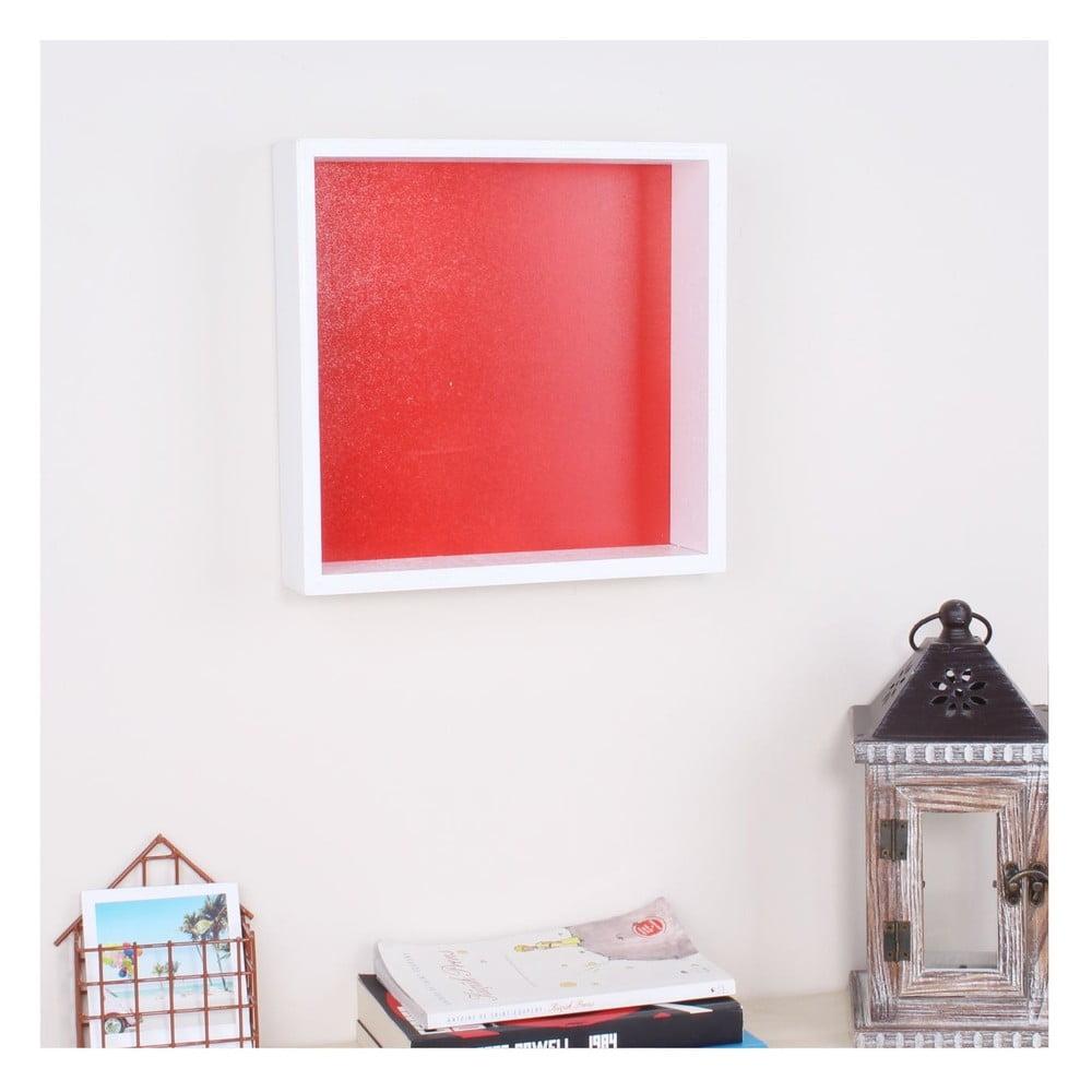 Bílá dřevěná nástěnná polička North Carolina Scandinavian Home Decors Cube Rouge