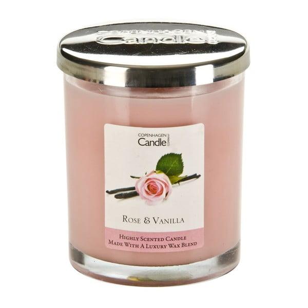 Aroma svíčka s vůní růže a vanilky Copenhagen Candles, doba hoření 40 hodin