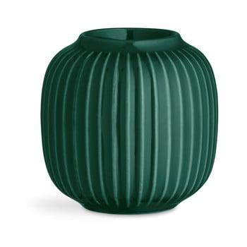 Sfeșnic din porțelan pentru lumânările de ceai Kähler Design Hammershoi, ⌀ 9 cm, verde de la Kähler Design