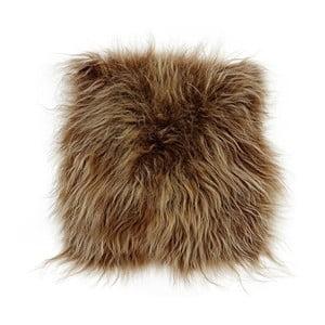 Hnědý kožešinový podsedák s dlouhým chlupem Arctic Fur Eglé, 37x37cm