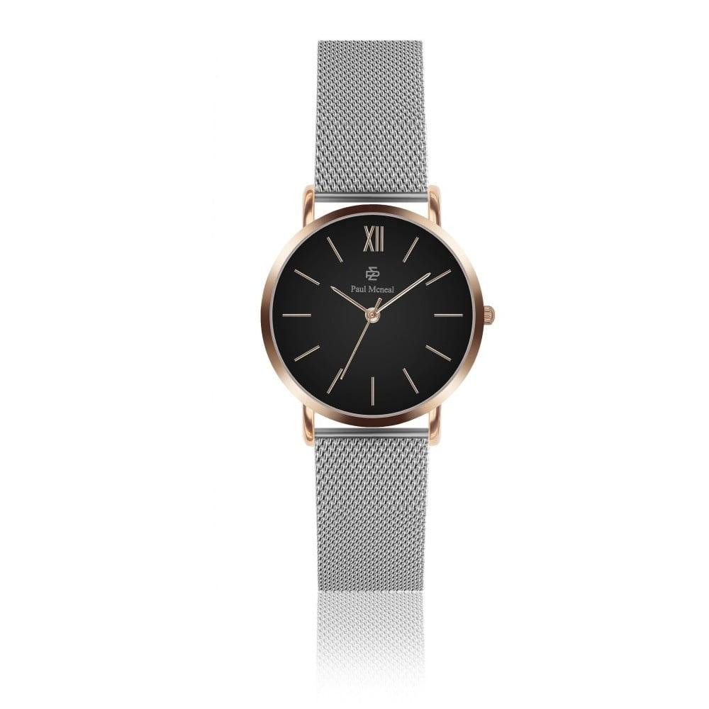 Dámské hodinky s řemínkem z nerezové oceli ve stříbrné barvě Paul McNeal Mea, ⌀ 3,6 cm