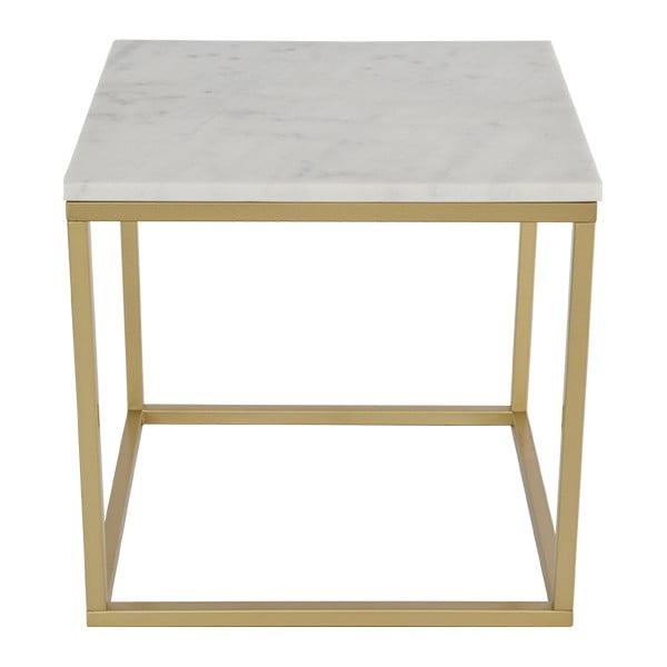 Mramorový konferenční stolek s konstrukcí v barvě mosazi RGE Accent, šířka55cm