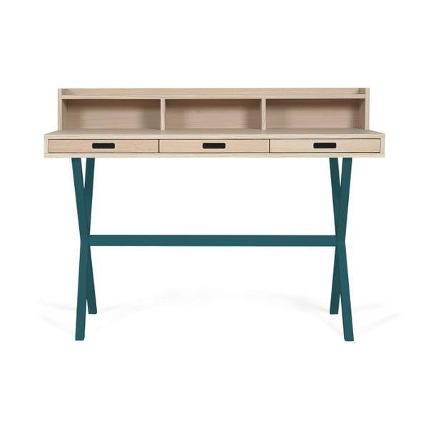 Pracovní stůl v dekoru dubového dřeva s petrolejově modrými kovovými nohami HARTÔ Hyppolite, 120x55cm