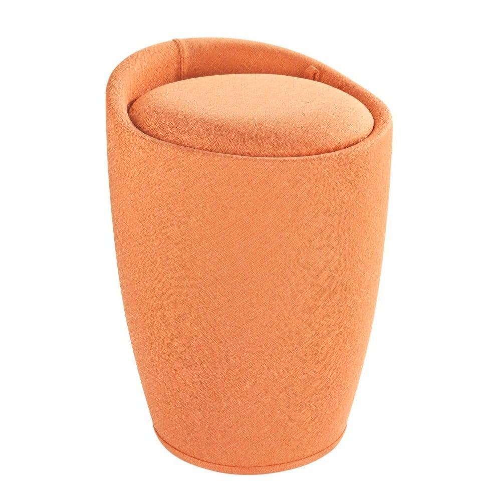 Oranžový koš na prádlo a taburetka v jednom Wenko Linen Look, 20 l