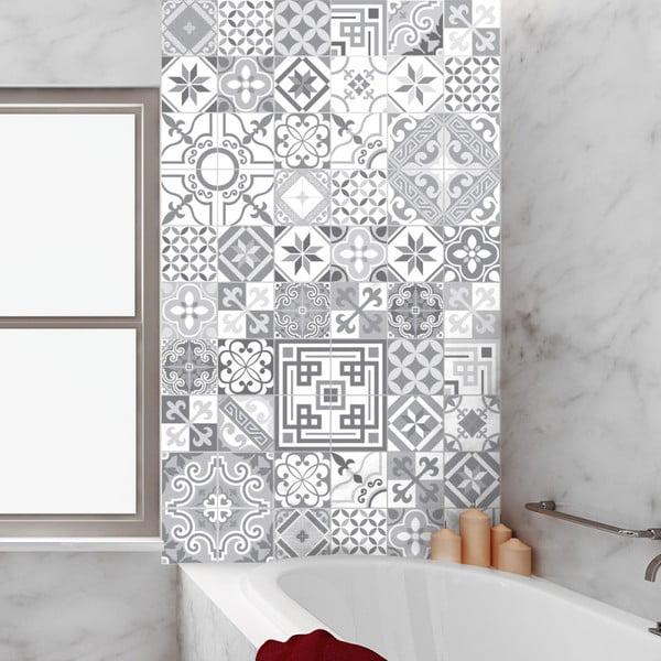 Sada 60 dekorativních samolepek na stěnu Ambiance Shades of Grey, 20 x 20 cm