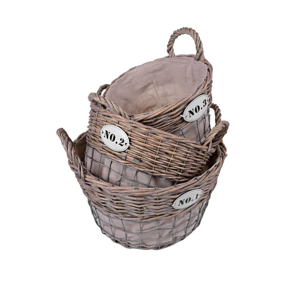 Sada 3 košíků s číslem Ego decor Vintage