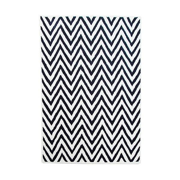 Vlněný koberec Ziggy Ivory Black, 153x244 cm