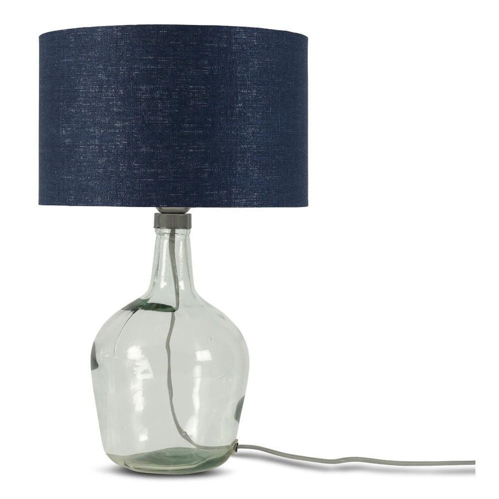 Stolní lampa s tmavě modrým stínidlem a konstrukcí z recyklovaného skla Good&Mojo Murano, ⌀30cm