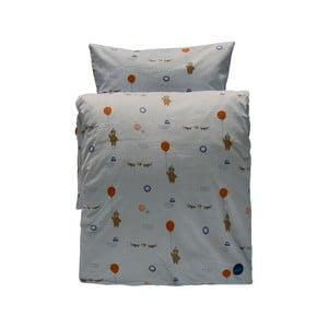 Set šedého dětského povlečení na peřinu a polštář z organické bavlny OYOY Happy Circus, 200 x 140 cm
