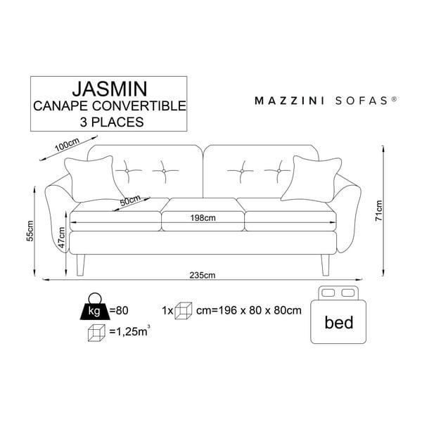 Krémová trojmístná rozkládací pohovka s černými nohami Mazzini Sofas Jasmin