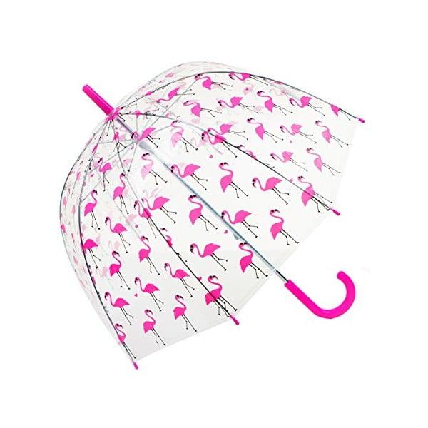 Detský transparentný dáždnik Ambiance Flamingo