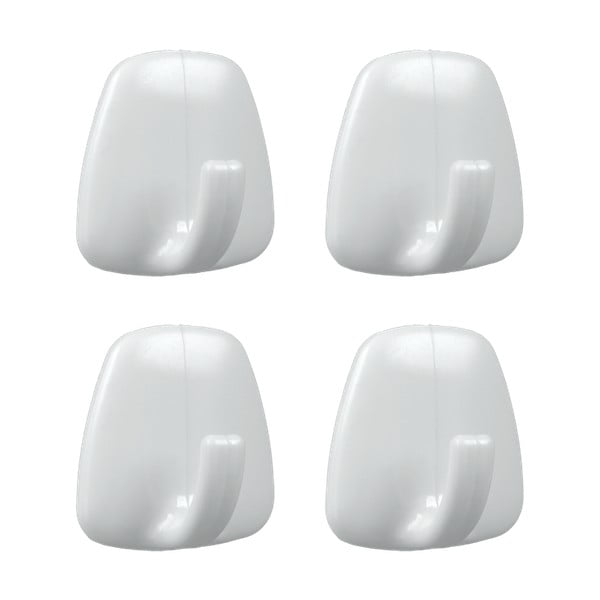 Zestaw 4 białych plastikowych samoprzylepnych haczyków Metaltex John