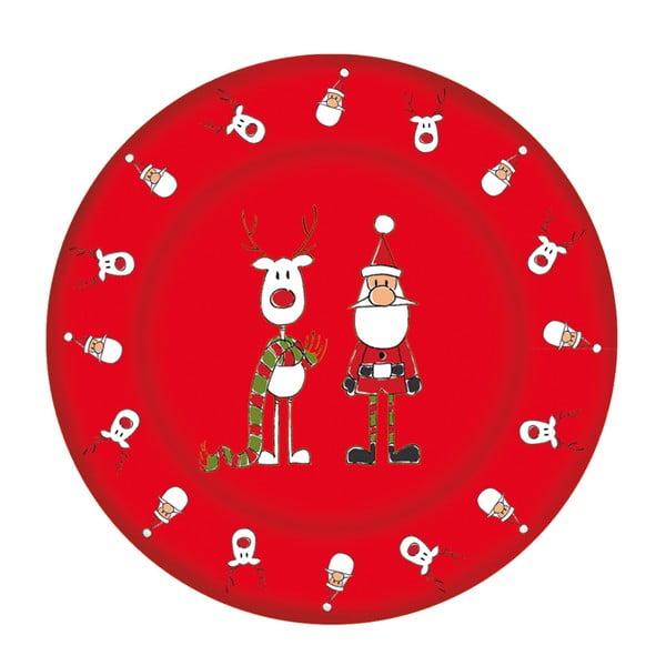 Červený skleněný talíř s vánočním motivem PPD Xmas Plate Rudi Scarf Duro, ⌀ 32 cm