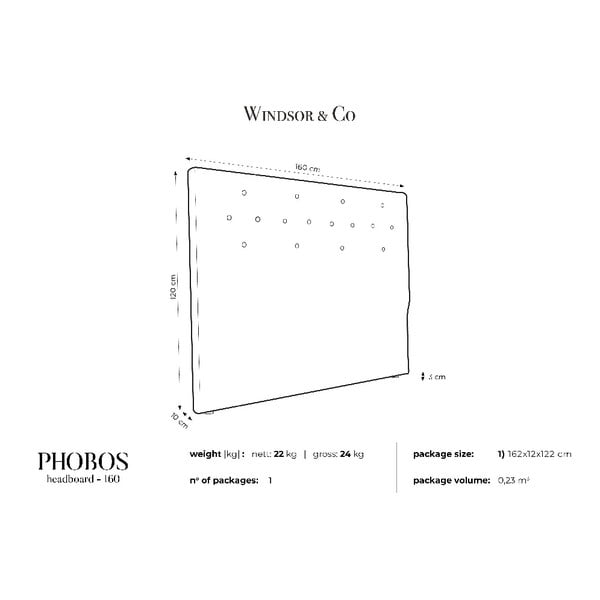 Krémové čelo postele Windsor & Co Sofas Phobos, 160 x 120 cm