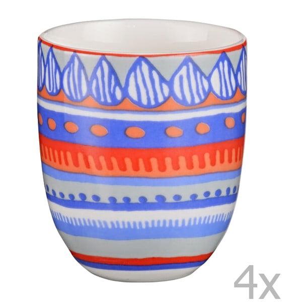 Sada 4 porcelánových šálků na espresso Oilily 80 ml, modrá