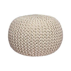 Pouf tricotat LABEL51 Knitted, crem
