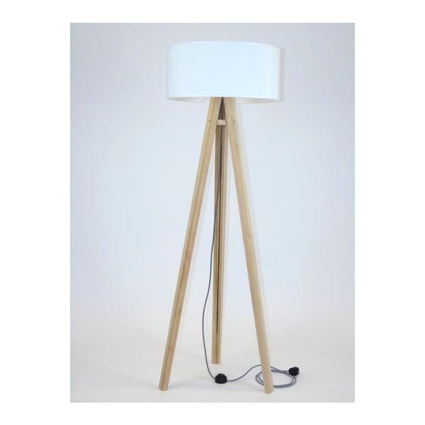 Wanda állólámpa fehér lámpabúrával és fekete-fehér kábellel - Ragaba