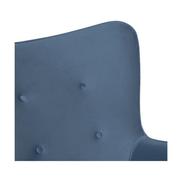 Modré křeslo a podnožka s podnoží v černé barvě Vivonita Cora Velvet