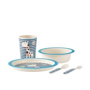 Dětský modrý jídelní set z bambusu KJ Collection