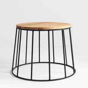 Odkládací stolek s černým podnožím a dubovou deskou Custom Form Flun