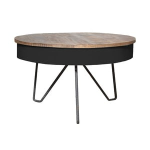 Černý konferenční stolek s deskou z mangového dřeva LABEL51 Saria
