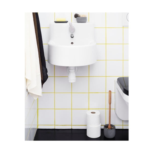 Toaletní kartáč s miskou ze šedého betonu Iris Hantverk
