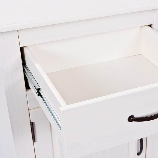 Bílá skříňka z masivního borovicového dřeva Interlink Cassala Uno