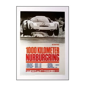 Plakát Porsche 1000 Km Nürnburgring 1967, 70x50 cm