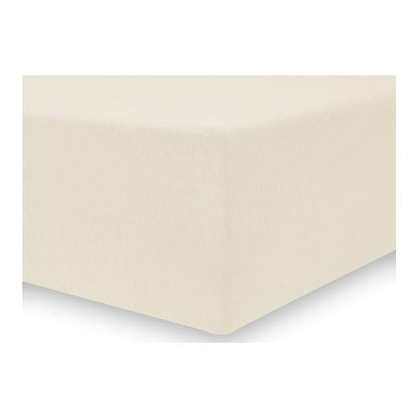 Světle krémové elastické prostěradlo DecoKing Nephrite, 200–220 cm
