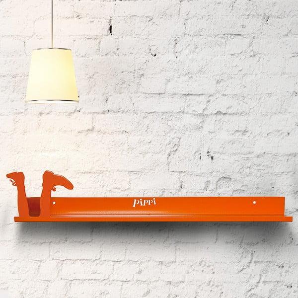Závěsná polička Nohatá Pipi dlouhá punčocha, 50 cm, oranžová