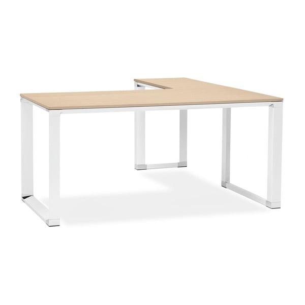 Bílý pracovní rohový stůl s přírodní dřevěnou deskou Kokoon Warmer