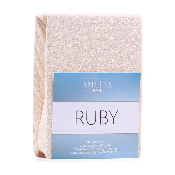 Cearceaf elastic AmeliaHome Ruby, 200 x 120-140 cm, bej deschis