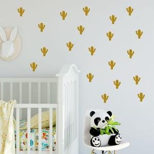 Set autocolante de perete North Carolina Scandinavian Home Decors Cactus, auriu